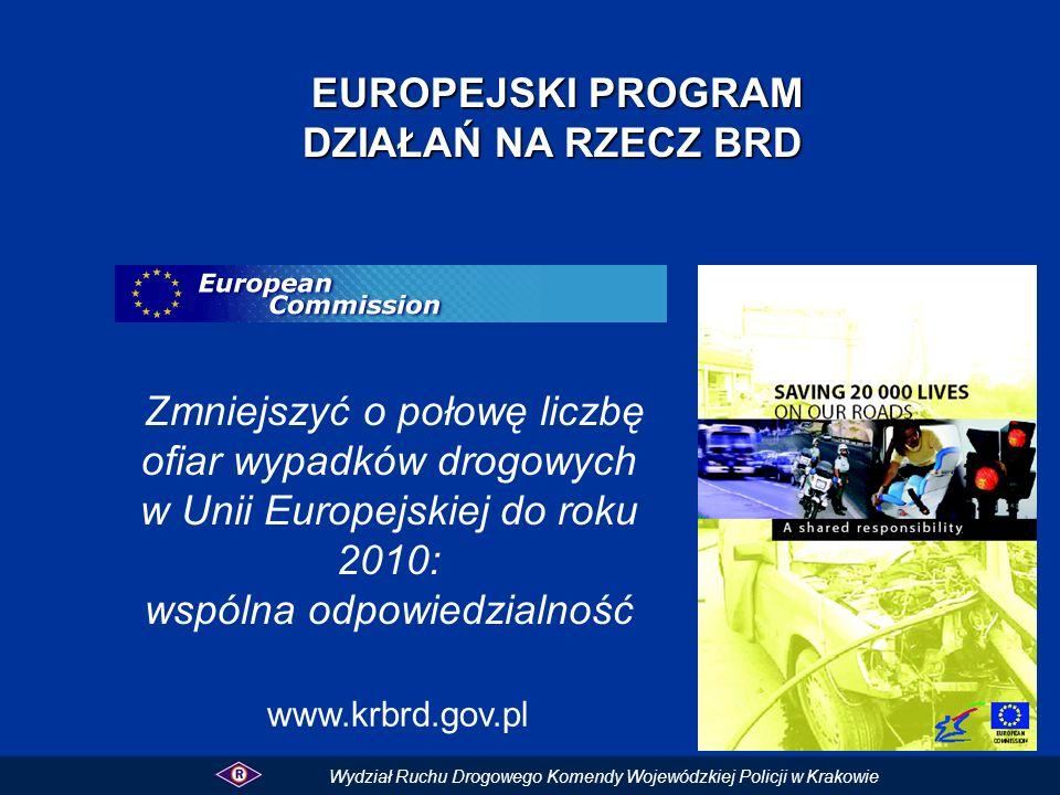 EUROPEJSKI PROGRAM EUROPEJSKI PROGRAM DZIAŁAŃ NA RZECZ BRD Zmniejszyć o połowę liczbę ofiar wypadków drogowych w Unii Europejskiej do roku 2010: wspól