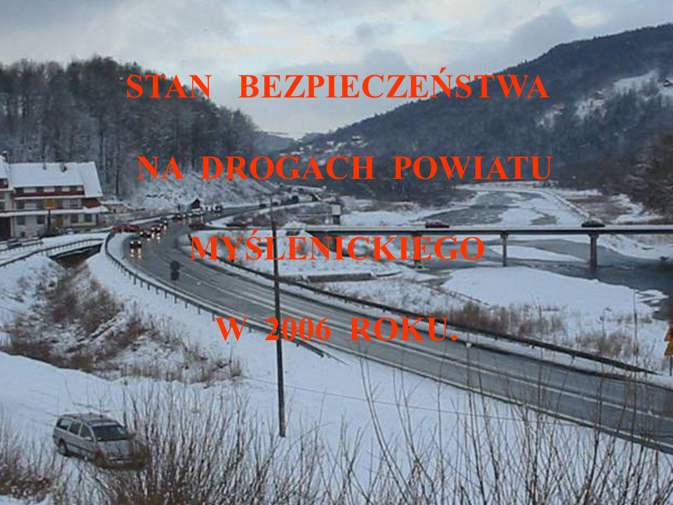 PR Z Y C Z Y N Y : PR Z Y C Z Y N Y : W 2006 roku na drogach powiatu myślenickiego kierowcy Spowodowali : / 169 / 196 wypadków drogowych.