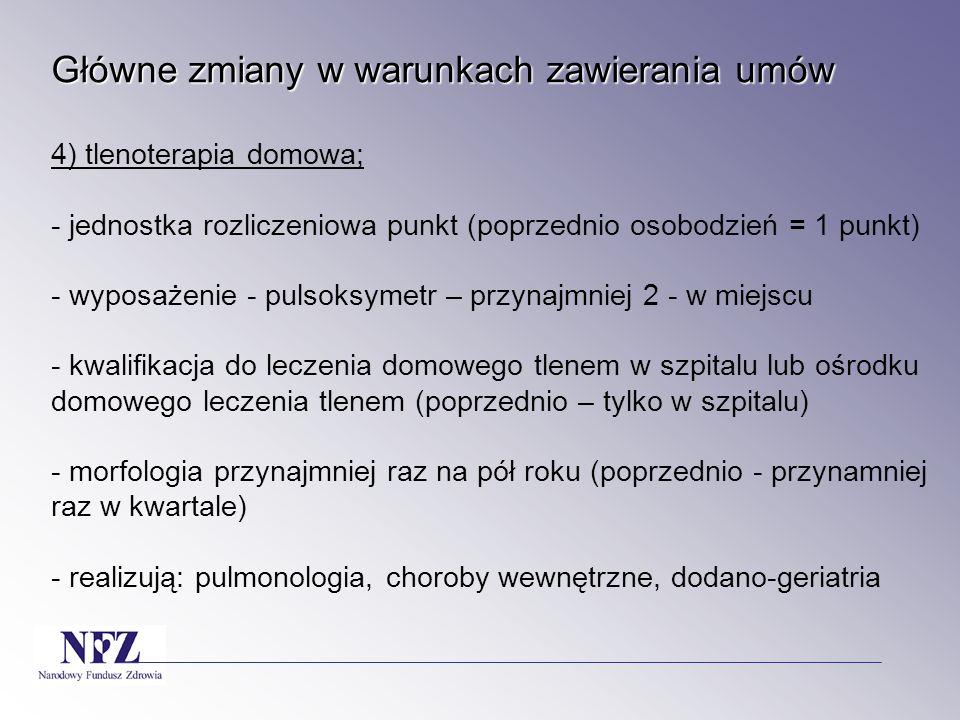 Główne zmiany w warunkach zawierania umów Główne zmiany w warunkach zawierania umów 4) tlenoterapia domowa; - jednostka rozliczeniowa punkt (poprzedni