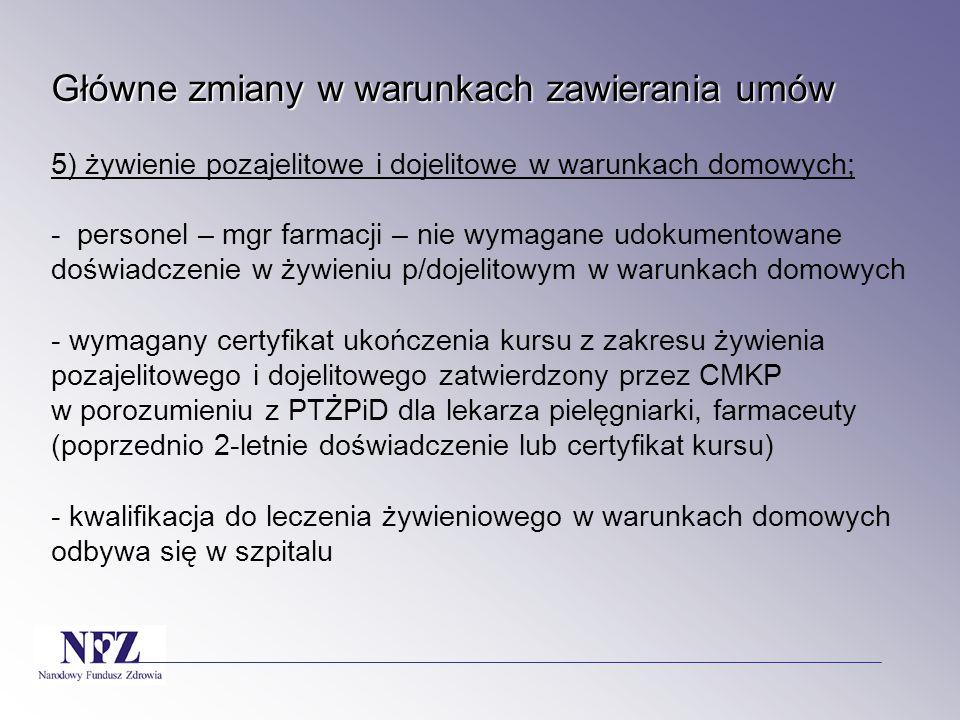 Główne zmiany w warunkach zawierania umów Główne zmiany w warunkach zawierania umów 5) żywienie pozajelitowe i dojelitowe w warunkach domowych; - pers