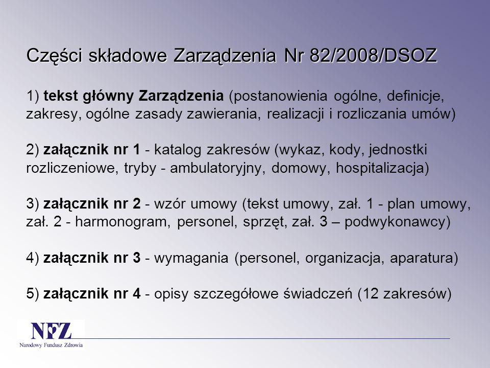 Części składowe Zarządzenia Nr 82/2008/DSOZ Części składowe Zarządzenia Nr 82/2008/DSOZ 1) tekst główny Zarządzenia (postanowienia ogólne, definicje,