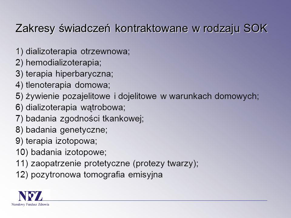 Zakresy świadczeń kontraktowane w rodzaju SOK 1 Zakresy świadczeń kontraktowane w rodzaju SOK 1) dializoterapia otrzewnowa; 2) hemodializoterapia; 3)