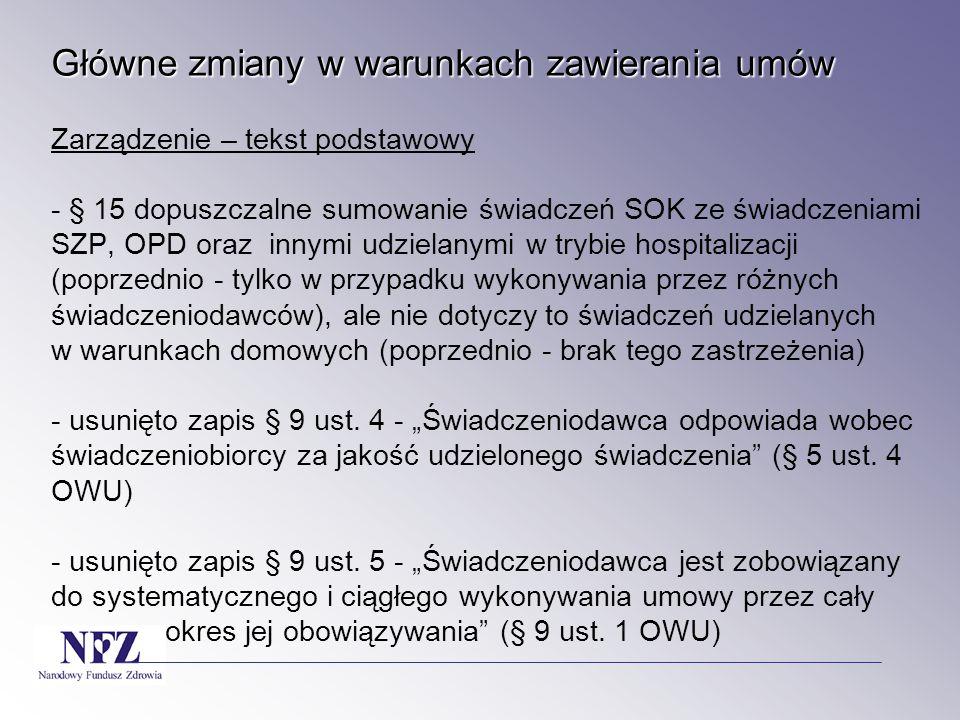 Główne zmiany w warunkach zawierania umów Główne zmiany w warunkach zawierania umów 10) badania izotopowe; - bez zmian (w tym dopuszczony lekarz w trakcie specjalizacji z medycyny nuklearnej)