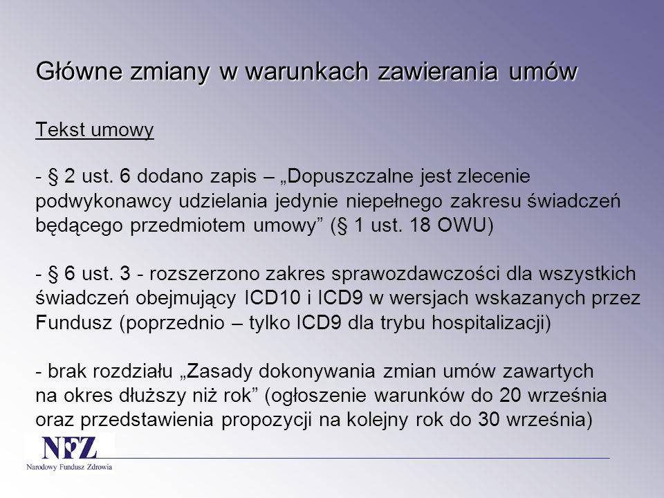Główne zmiany w warunkach zawierania umów Główne zmiany w warunkach zawierania umów 11) zaopatrzenie protetyczne (protezy twarzy); - bez zmian