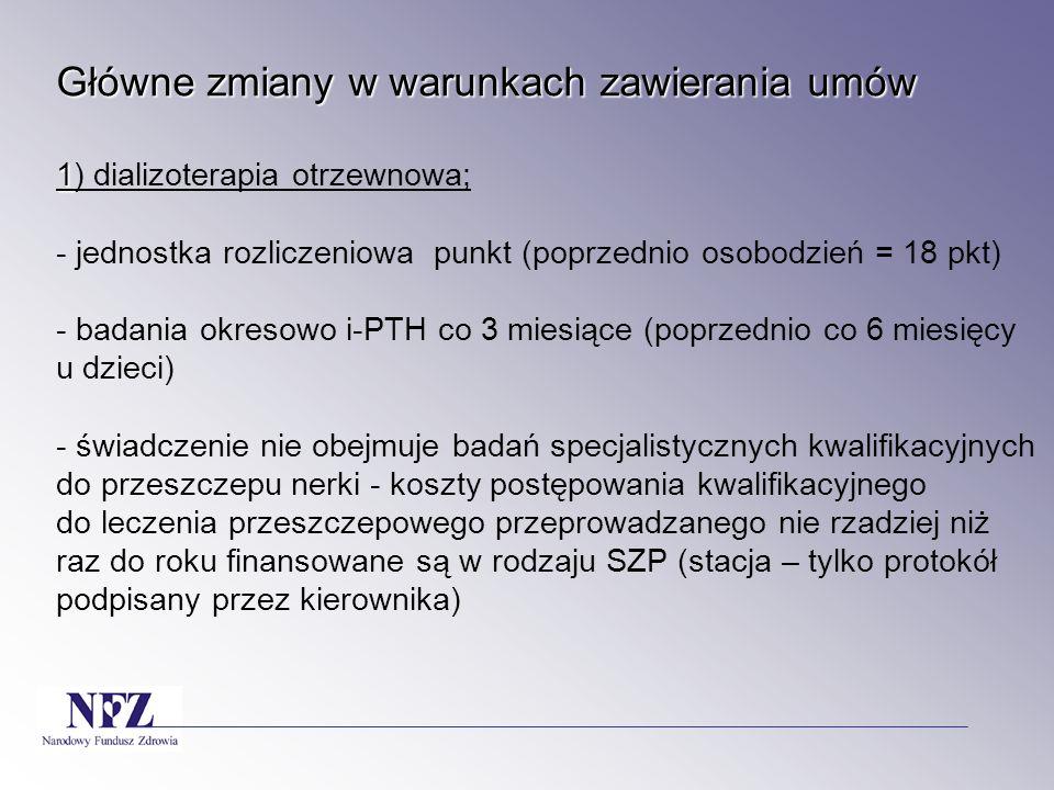 Główne zmiany w warunkach zawierania umów Główne zmiany w warunkach zawierania umów 12) pozytronowa tomografia emisyjna - bez zmian