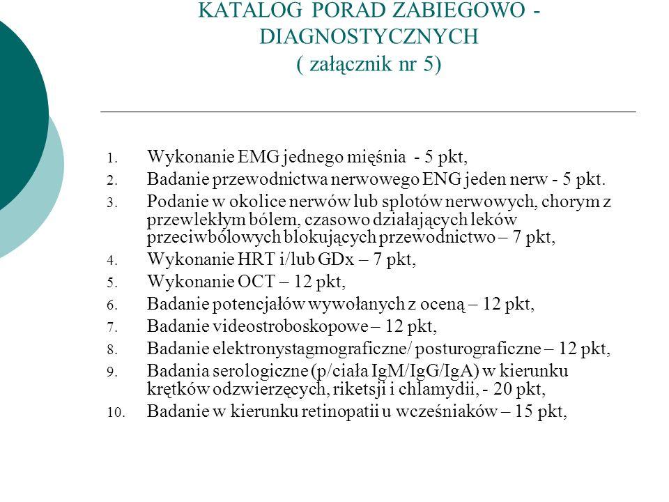 KATALOG PORAD ZABIEGOWO - DIAGNOSTYCZNYCH ( załącznik nr 5) 1. Wykonanie EMG jednego mięśnia - 5 pkt, 2. Badanie przewodnictwa nerwowego ENG jeden ner