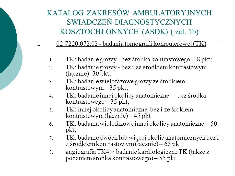 KATALOG ZAKRESÓW AMBULATORYJNYCH ŚWIADCZEŃ DIAGNOSTYCZNYCH KOSZTOCHŁONNYCH (ASDK) ( zał. 1b) I. 02.7220.072.02 - badania tomografii komputerowej (TK)