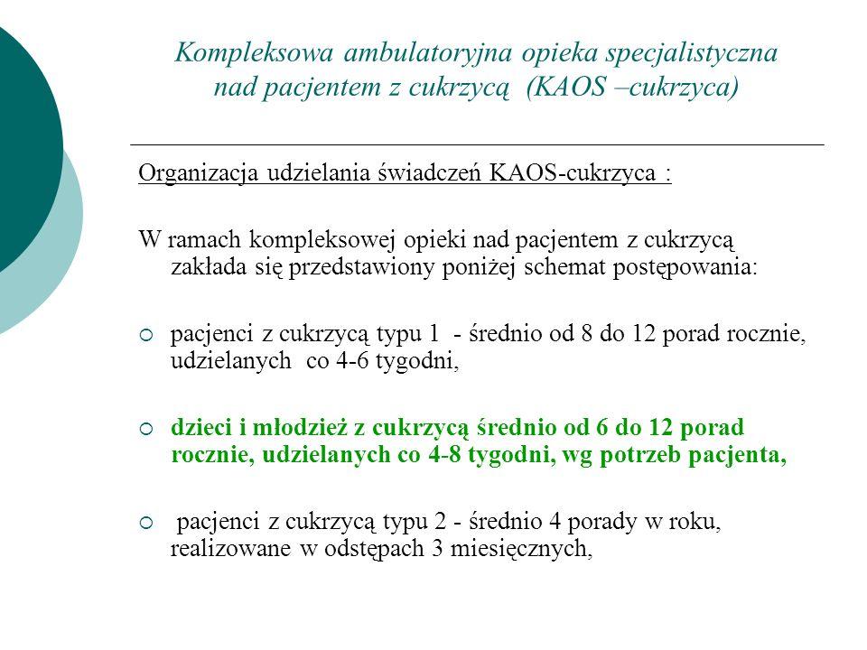 Kompleksowa ambulatoryjna opieka specjalistyczna nad pacjentem z cukrzycą (KAOS –cukrzyca) Organizacja udzielania świadczeń KAOS-cukrzyca : W ramach k