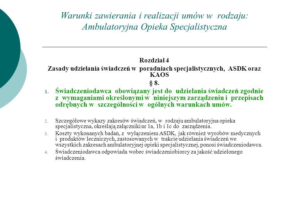 Warunki zawierania i realizacji umów w rodzaju: Ambulatoryjna Opieka Specjalistyczna Rozdział 4 Zasady udzielania świadczeń w poradniach specjalistycz