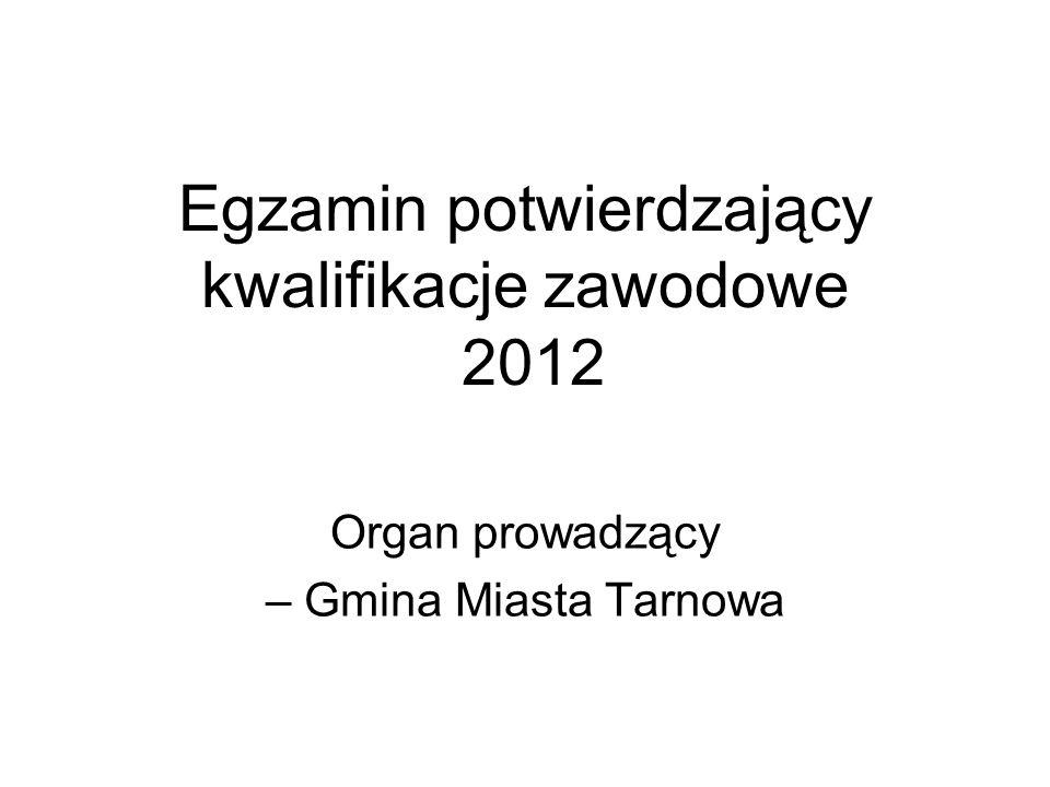 Egzamin potwierdzający kwalifikacje zawodowe 2012 Organ prowadzący – Gmina Miasta Tarnowa