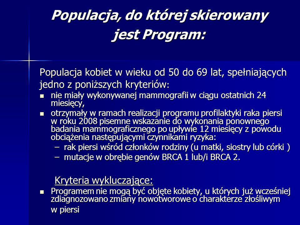 Populacja, do której skierowany jest Program: Populacja kobiet w wieku od 50 do 69 lat, spełniających jedno z poniższych kryteriów : nie miały wykonyw