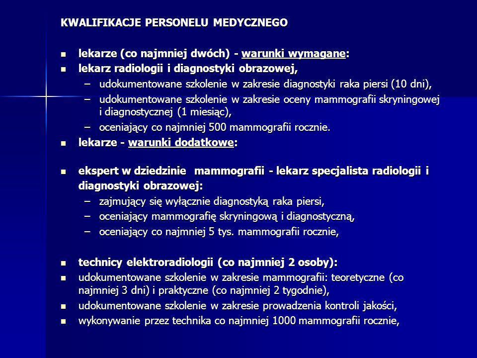 KWALIFIKACJE PERSONELU MEDYCZNEGO lekarze (co najmniej dwóch) - warunki wymagane: lekarze (co najmniej dwóch) - warunki wymagane: lekarz radiologii i