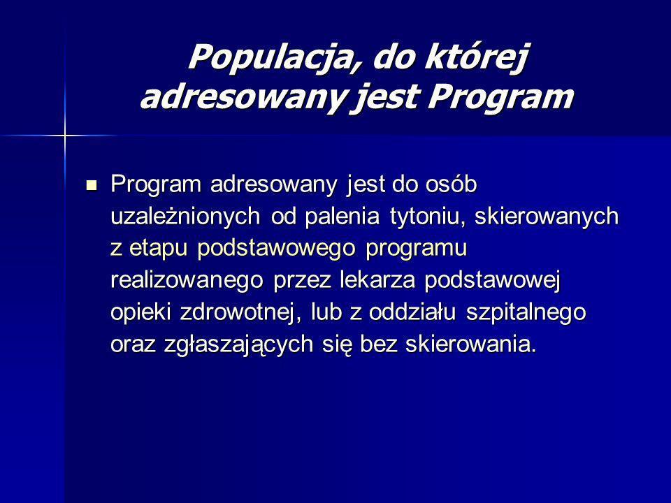 Populacja, do której adresowany jest Program Program adresowany jest do osób uzależnionych od palenia tytoniu, skierowanych z etapu podstawowego progr