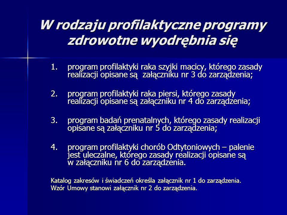 W rodzaju profilaktyczne programy zdrowotne wyodrębnia się 1.program profilaktyki raka szyjki macicy, którego zasady realizacji opisane są załączniku