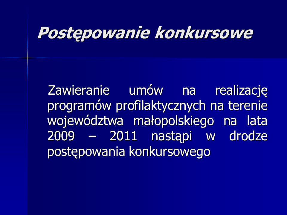 Postępowanie konkursowe Zawieranie umów na realizację programów profilaktycznych na terenie województwa małopolskiego na lata 2009 – 2011 nastąpi w dr