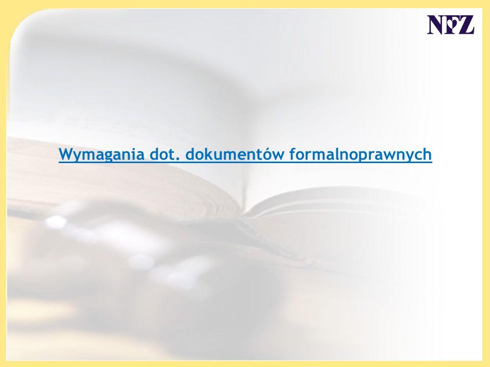 Wymagania dot. dokumentów formalnoprawnych