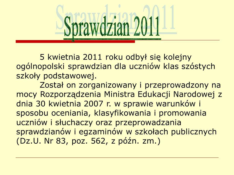 5 kwietnia 2011 roku odbył się kolejny ogólnopolski sprawdzian dla uczniów klas szóstych szkoły podstawowej. Został on zorganizowany i przeprowadzony