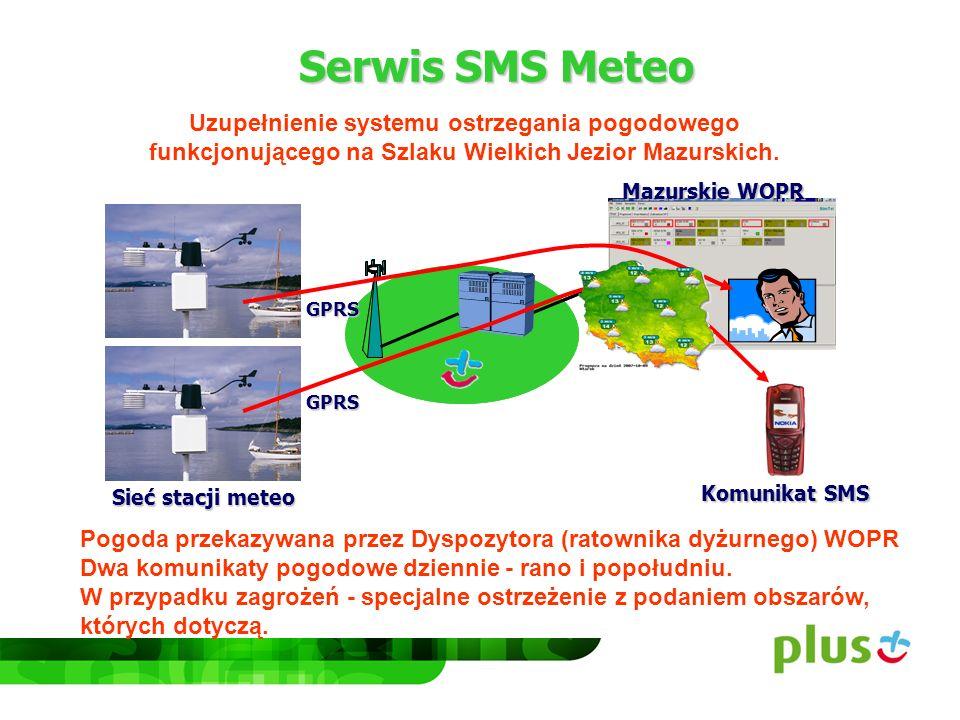 Serwis SMS Meteo Uzupełnienie systemu ostrzegania pogodowego funkcjonującego na Szlaku Wielkich Jezior Mazurskich. Pogoda przekazywana przez Dyspozyto