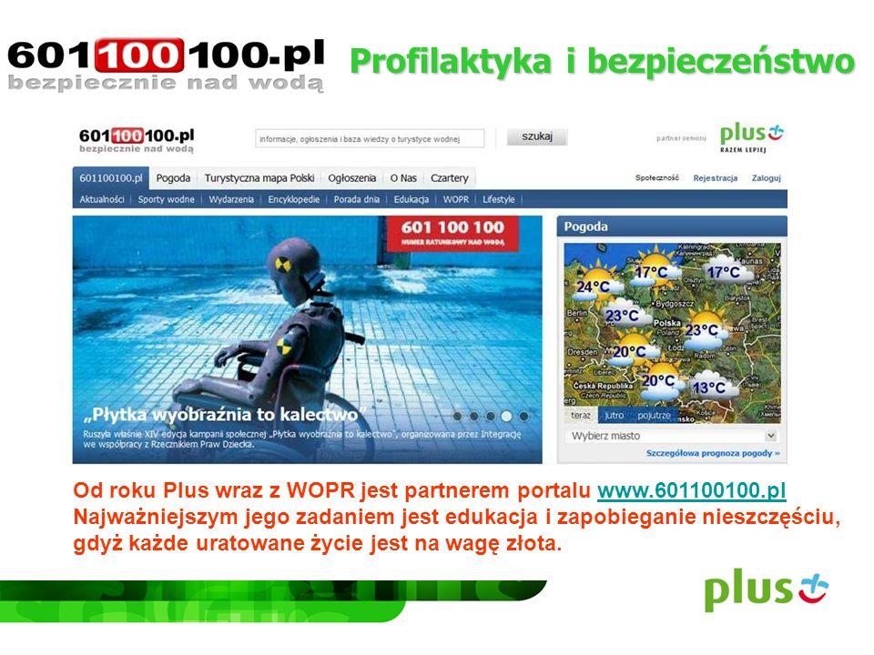 Profilaktyka i bezpieczeństwo Od roku Plus wraz z WOPR jest partnerem portalu www.601100100.pl Najważniejszym jego zadaniem jest edukacja i zapobiegan