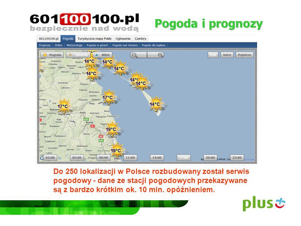 Pogoda i prognozy Do 250 lokalizacji w Polsce rozbudowany został serwis pogodowy - dane ze stacji pogodowych przekazywane są z bardzo krótkim ok. 10 m
