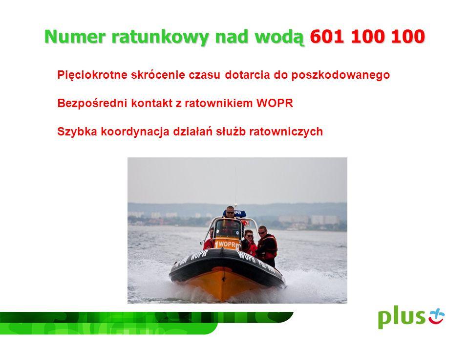 Numer ratunkowy nad wodą 601 100 100 Pięciokrotne skrócenie czasu dotarcia do poszkodowanego Bezpośredni kontakt z ratownikiem WOPR Szybka koordynacja