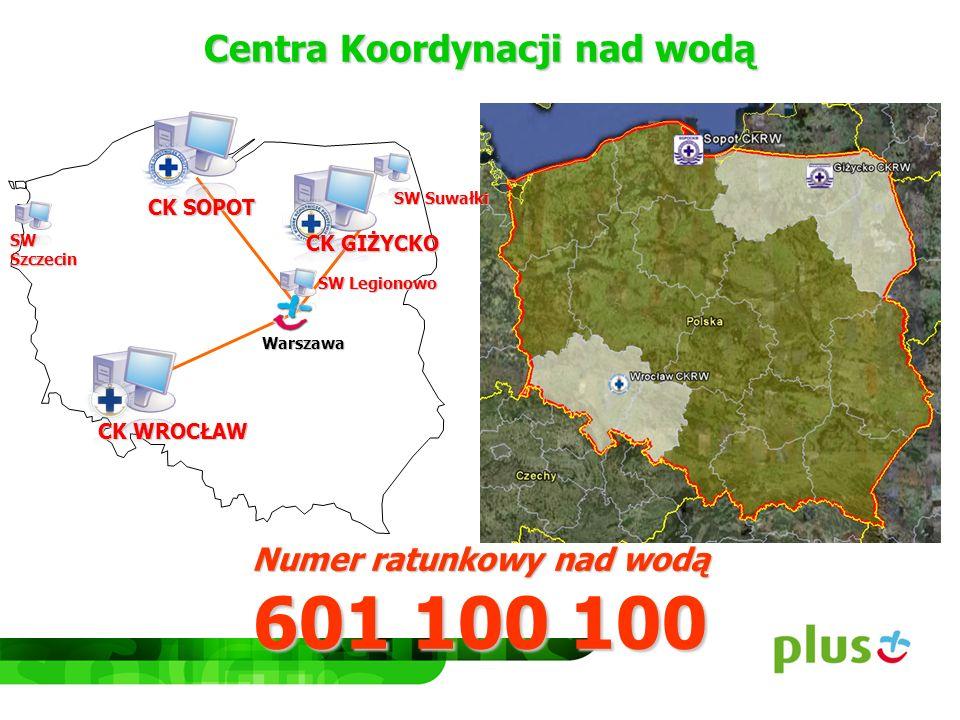 Centra Koordynacji nad wodą Numer ratunkowy nad wodą 601 100 100 SW Szczecin SW Suwałki SW Legionowo CK GIŻYCKO CK SOPOT CK WROCŁAW Warszawa