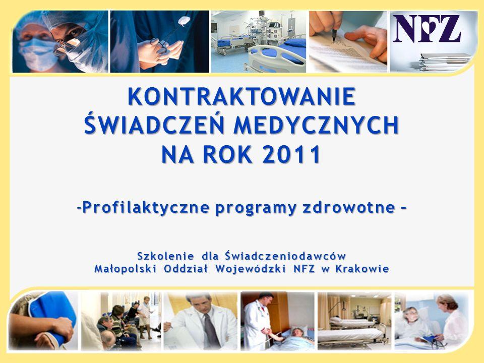 KONTRAKTOWANIE ŚWIADCZEŃ MEDYCZNYCH NA ROK 2011 -Profilaktyczne programy zdrowotne – Szkolenie dla Świadczeniodawców Małopolski Oddział Wojewódzki NFZ