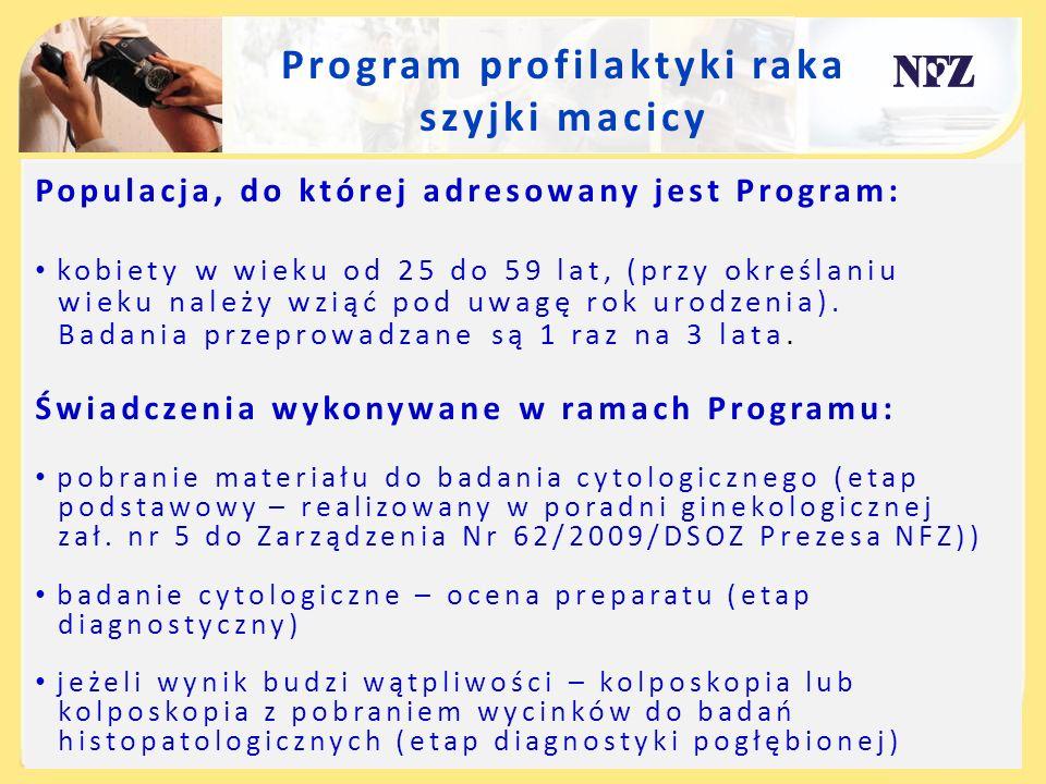 Program profilaktyki raka szyjki macicy Populacja, do której adresowany jest Program: kobiety w wieku od 25 do 59 lat, (przy określaniu wieku należy w