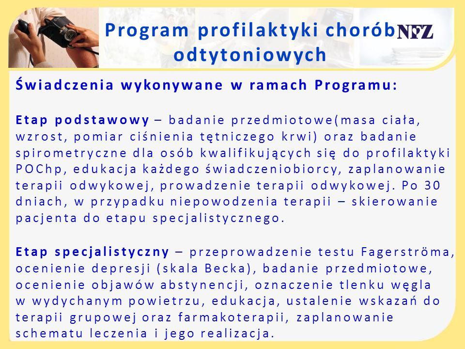Program profilaktyki chorób odtytoniowych Świadczenia wykonywane w ramach Programu: Etap podstawowy – badanie przedmiotowe(masa ciała, wzrost, pomiar