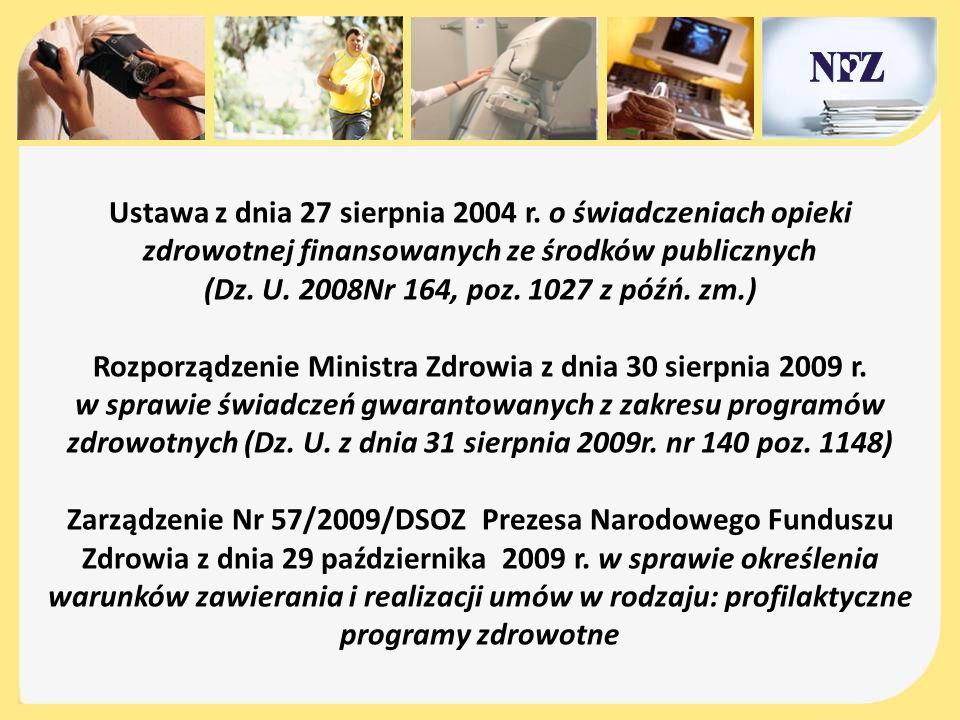Ustawa z dnia 27 sierpnia 2004 r. o świadczeniach opieki zdrowotnej finansowanych ze środków publicznych (Dz. U. 2008Nr 164, poz. 1027 z późń. zm.) Ro