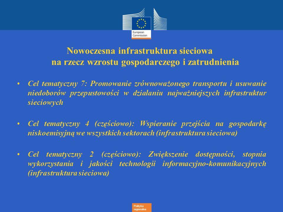 Polityka regionalna Nowoczesna infrastruktura sieciowa na rzecz wzrostu gospodarczego i zatrudnienia Cel tematyczny 7: Promowanie zrównoważonego trans
