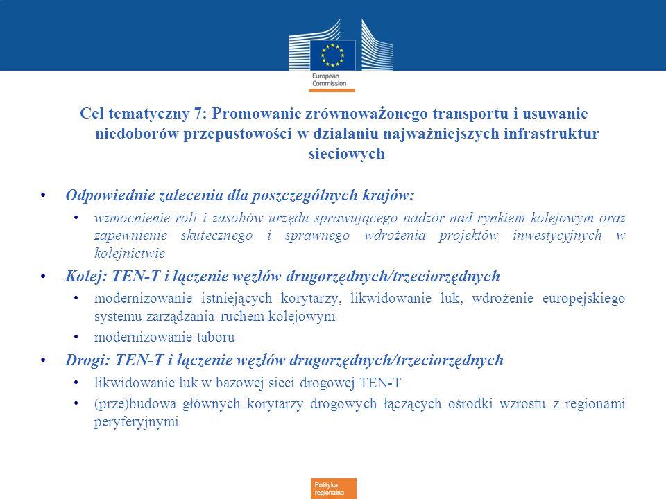 Polityka regionalna Cel tematyczny 7: Promowanie zrównowa ż onego transportu i usuwanie niedoborów przepustowości w działaniu najważniejszych infrastr