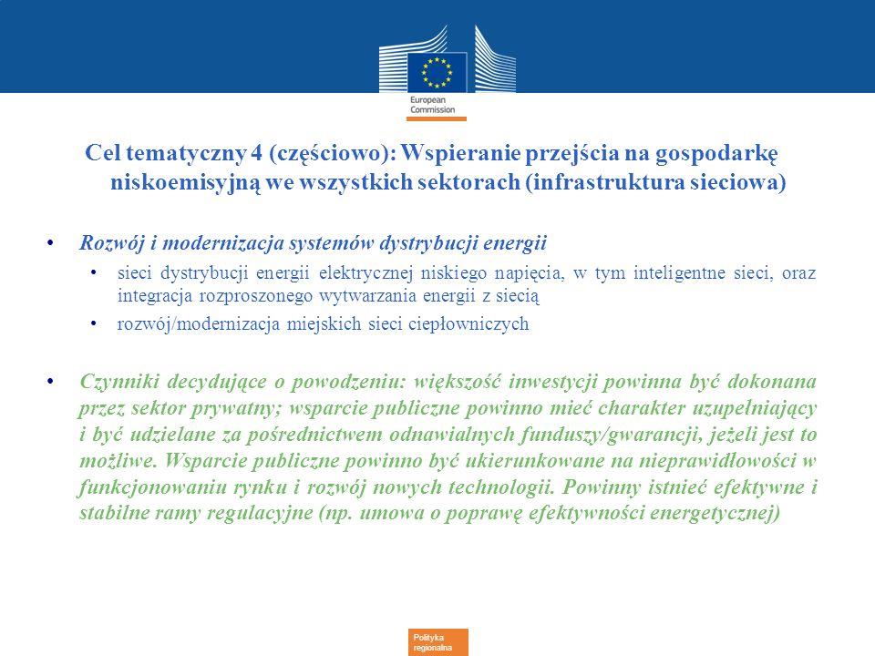 Polityka regionalna Cel tematyczny 4 (częściowo): Wspieranie przejścia na gospodarkę niskoemisyjną we wszystkich sektorach (infrastruktura sieciowa) R