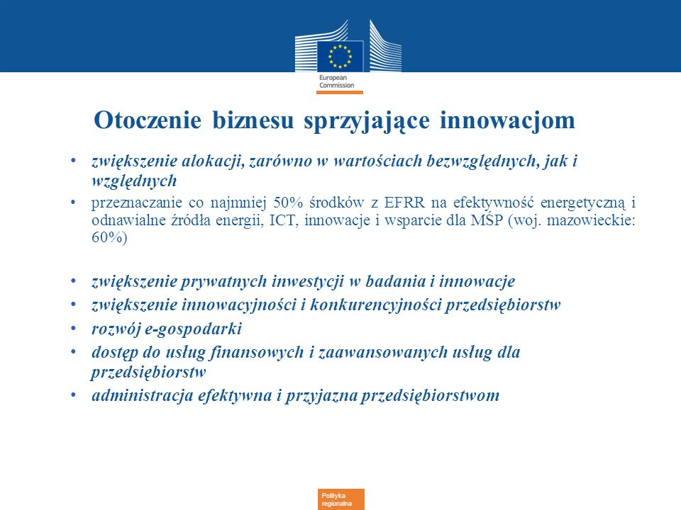 Polityka regionalna Otoczenie biznesu sprzyjające innowacjom zwiększenie alokacji, zarówno w wartościach bezwzględnych, jak i względnych przeznaczanie