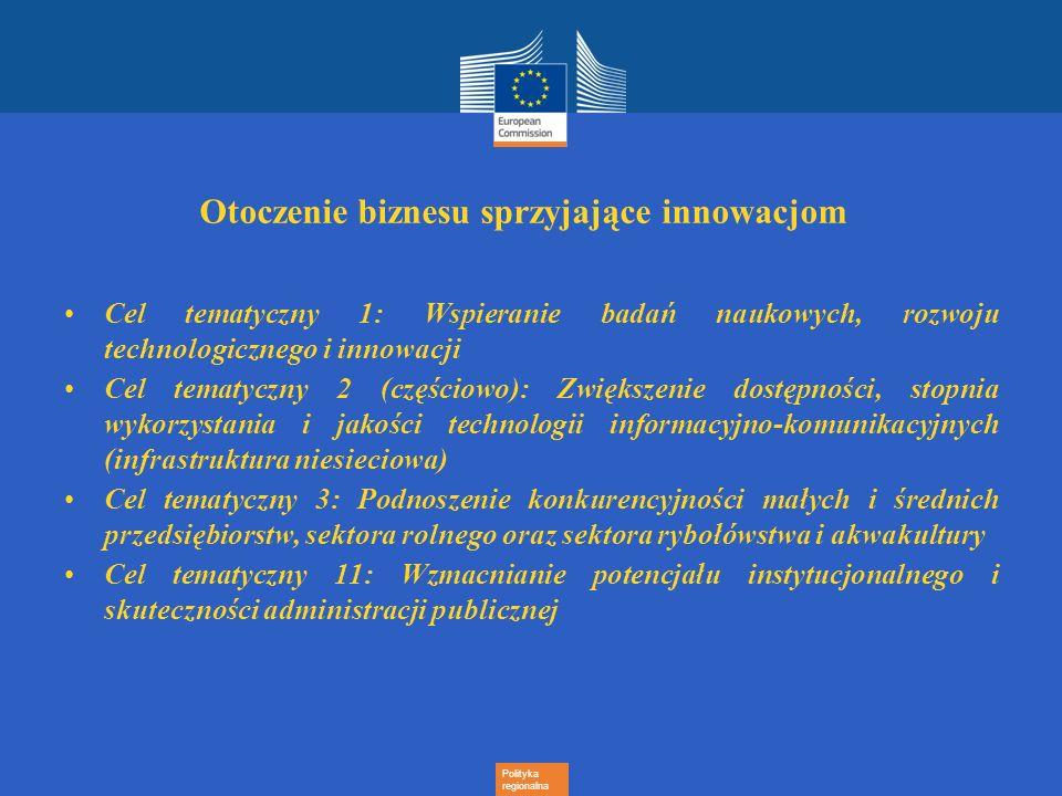Polityka regionalna Otoczenie biznesu sprzyjające innowacjom Cel tematyczny 1: Wspieranie badań naukowych, rozwoju technologicznego i innowacji Cel te