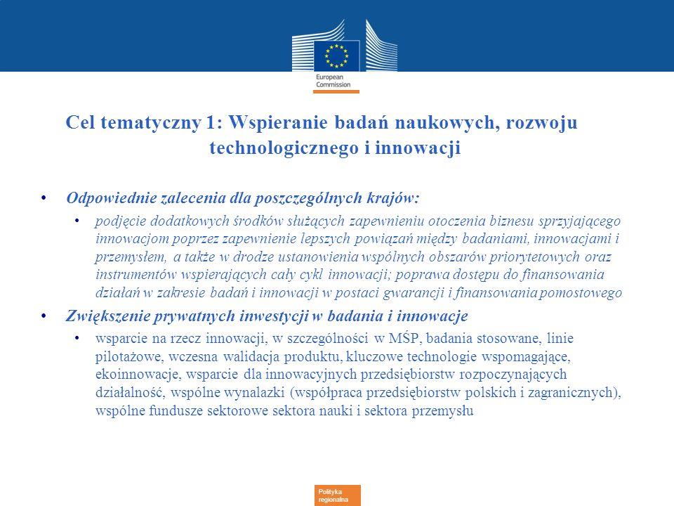Polityka regionalna Cel tematyczny 1: Wspieranie badań naukowych, rozwoju technologicznego i innowacji Odpowiednie zalecenia dla poszczególnych krajów