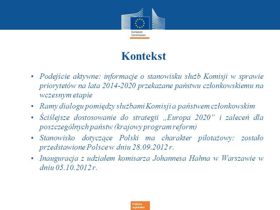 Polityka regionalna Kontekst Podejście aktywne: informacje o stanowisku służb Komisji w sprawie priorytetów na lata 2014-2020 przekazane państwu człon