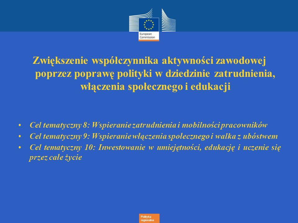 Polityka regionalna Zwiększenie współczynnika aktywności zawodowej poprzez poprawę polityki w dziedzinie zatrudnienia, włączenia społecznego i edukacj