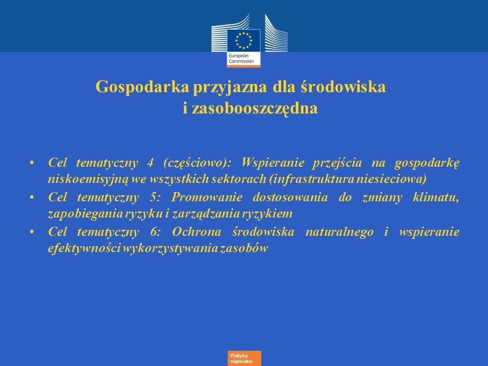 Polityka regionalna Gospodarka przyjazna dla środowiska i zasobooszczędna Cel tematyczny 4 (częściowo): Wspieranie przejścia na gospodarkę niskoemisyj