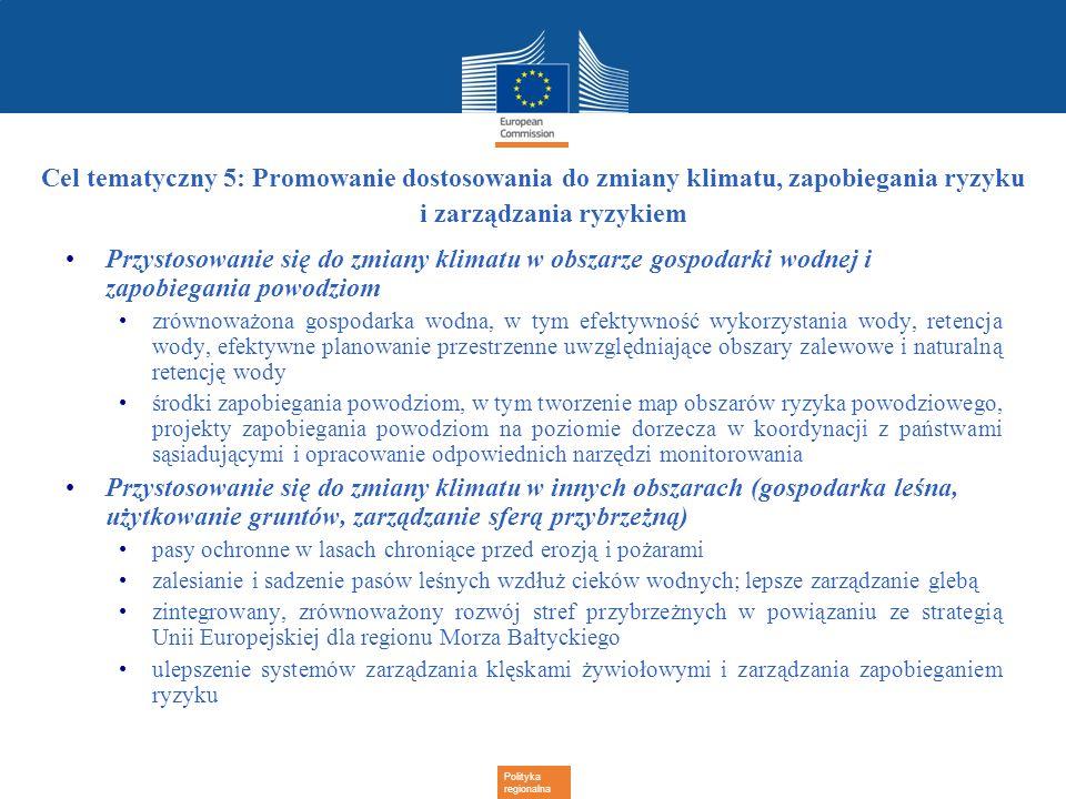 Polityka regionalna Cel tematyczny 5: Promowanie dostosowania do zmiany klimatu, zapobiegania ryzyku i zarządzania ryzykiem Przystosowanie się do zmia