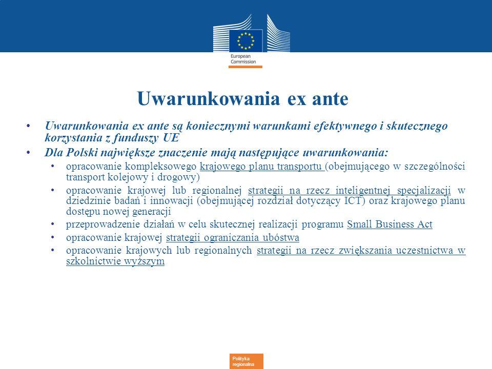 Polityka regionalna Uwarunkowania ex ante Uwarunkowania ex ante są koniecznymi warunkami efektywnego i skutecznego korzystania z funduszy UE Dla Polsk