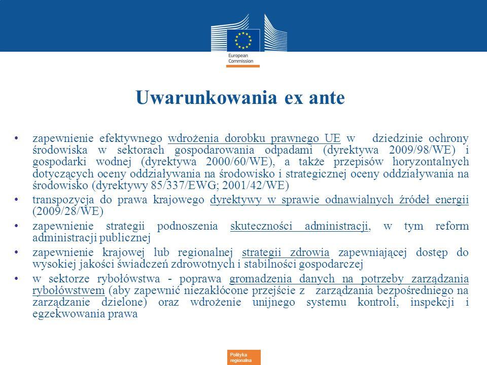 Polityka regionalna Uwarunkowania ex ante zapewnienie efektywnego wdrożenia dorobku prawnego UE w dziedzinie ochrony środowiska w sektorach gospodarow