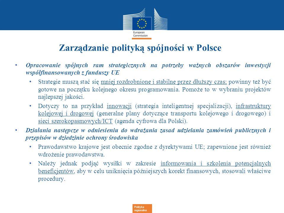 Polityka regionalna Zarządzanie polityką spójności w Polsce Opracowanie spójnych ram strategicznych na potrzeby ważnych obszarów inwestycji współfinan