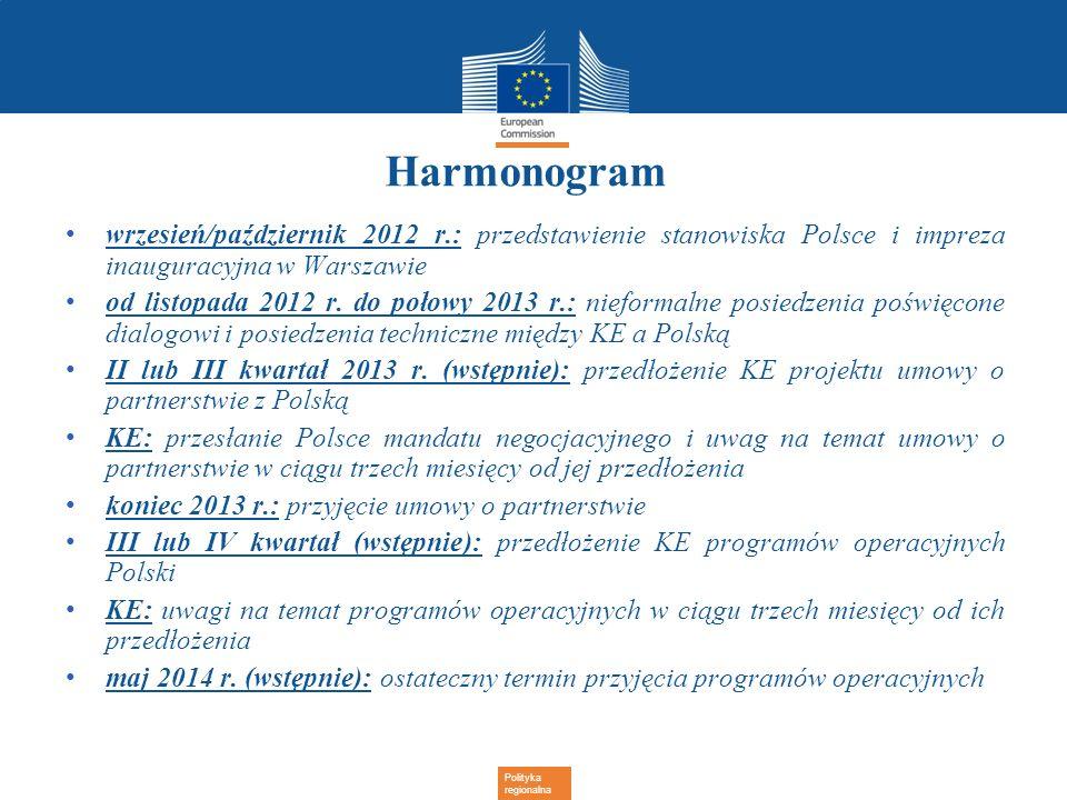 Polityka regionalna Harmonogram wrzesień/październik 2012 r.: przedstawienie stanowiska Polsce i impreza inauguracyjna w Warszawie od listopada 2012 r