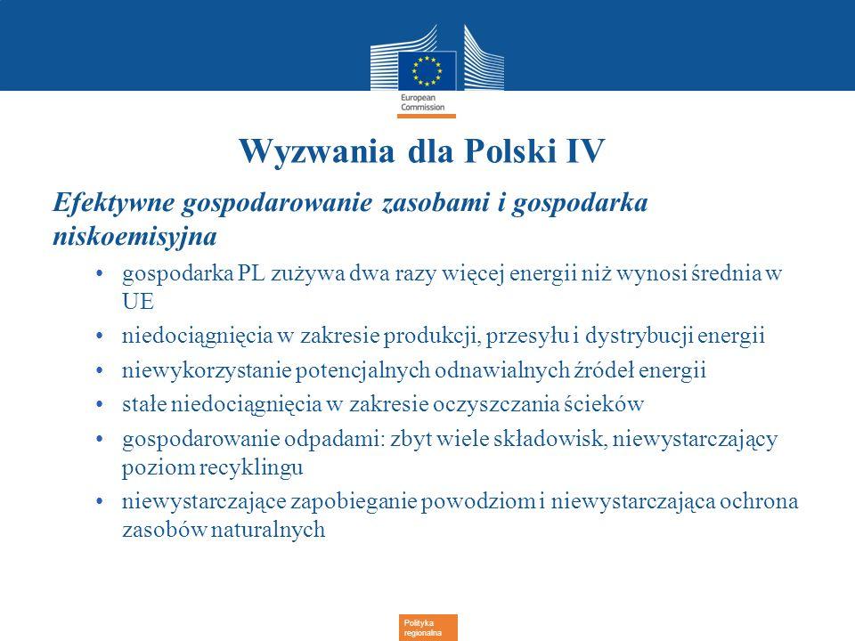 Polityka regionalna Wyzwania dla Polski IV Efektywne gospodarowanie zasobami i gospodarka niskoemisyjna gospodarka PL zużywa dwa razy więcej energii n