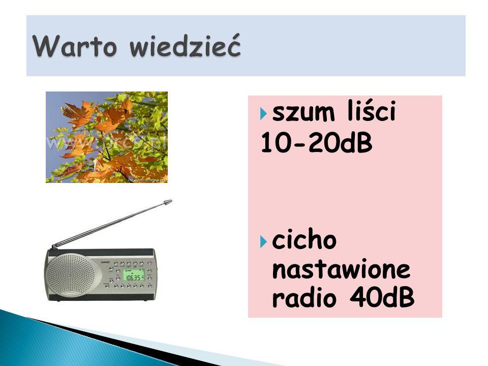 szum liści 10-20dB cicho nastawione radio 40dB