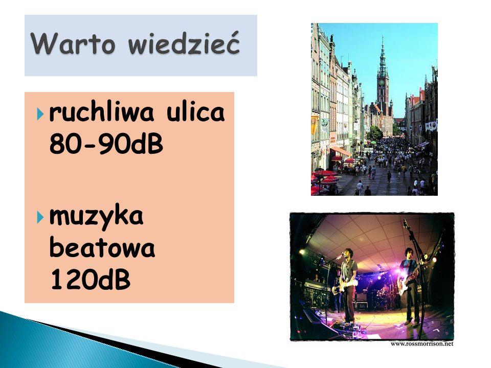 ruchliwa ulica 80-90dB muzyka beatowa 120dB