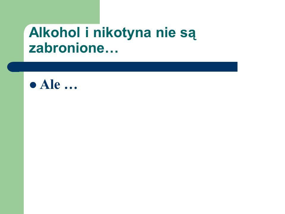 Alkohol i nikotyna nie są zabronione… Ale …