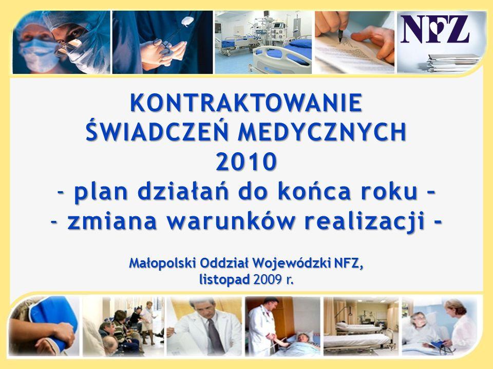 KONTRAKTOWANIE ŚWIADCZEŃ MEDYCZNYCH 2010 - plan działań do końca roku – - zmiana warunków realizacji - Małopolski Oddział Wojewódzki NFZ, listopad 2009 r.