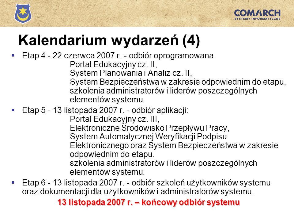 Kalendarium wydarzeń (4) Etap 4 - 22 czerwca 2007 r. - odbiór oprogramowana Portal Edukacyjny cz. II, System Planowania i Analiz cz. II, System Bezpie